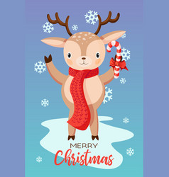 holiday christmas card with smiling cute vector image