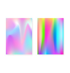holographic cover set with hologram gradient vector image