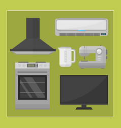 Home appliances kitchen equipment domestic vector