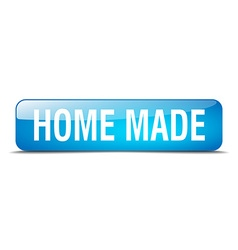 home made blue square 3d realistic isolated web vector image