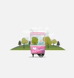 Ice cream cart kiosk on wheels retailers dairy vector