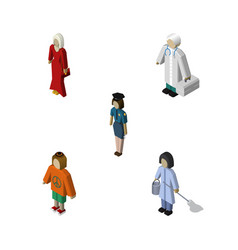 isometric human set of housemaid policewoman vector image