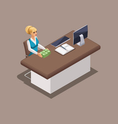 isometric worker bank manager girl working in the vector image
