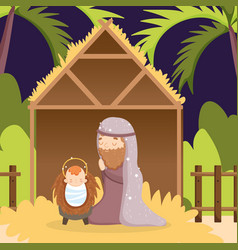 joseph with bajesus hut manger nativity merry vector image