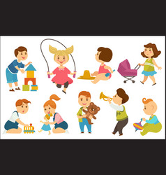 Kids children playing toys and games on playground vector