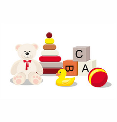Kids toys concept bear and clorful toys vector