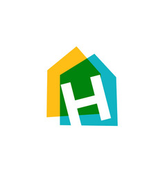 Letter h house home overlapping color logo icon vector