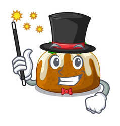 Magician christmas pudding isolated on the mascot vector