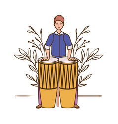 Man with congas and branches and leaves in the vector