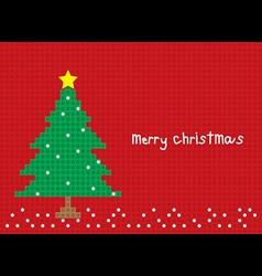 merry christmas tree postcard horizontal vector image