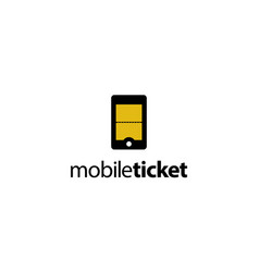 mobile ticket logo design concept vector image