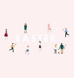 modern easter web banner boys with whip chasing vector image