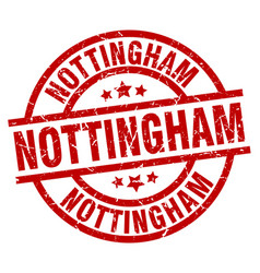nottingham red round grunge stamp vector image vector image