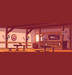 Old tavern vintage pub with wooden bar counter vector