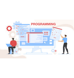 Online project css html coding and programming vector