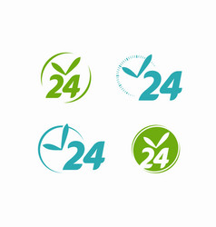 Open 24 hours sign 24h clock icon or label vector