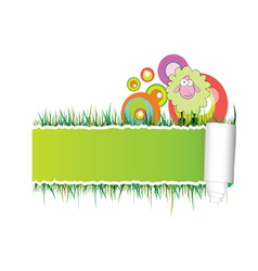 paper with green sheep vector image