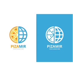 pizza and planet logo combination unique vector image
