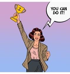 Pop Art Business Woman Winner with Golden Cup vector