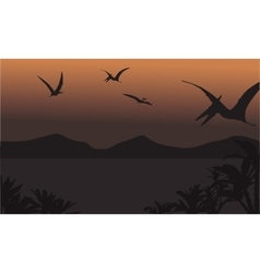 Pterodactyl fly at the night scenery vector