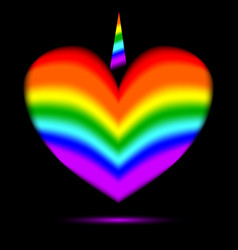 Rainbow heart with a unicorn horn vector