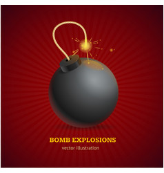 Realistic detailed 3d bomb explosion concept ad vector