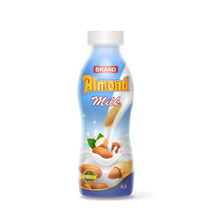 realistic plastic bottle of almond milk vector image