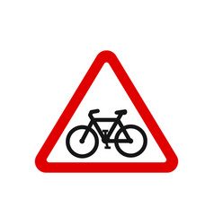 red triangle bicycle road sign vector image