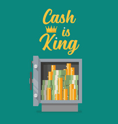 safe full money with text cash is king vector image