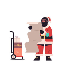 Santa claus with mask holding paper wish list vector