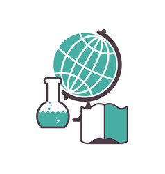 Science logo emblem for scientific laboratory vector