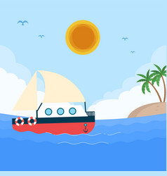 sea boat sun island blue sky background ima vector image