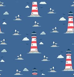 seamless lighthouse pattern vector image