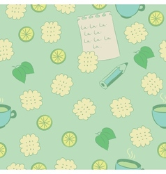Seamless pattern with cookies lime mint and tea vector image