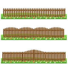 set of farm wooden fences isolated on white vector image
