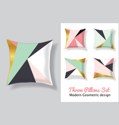 Set of pink and mint green throw pillows vector