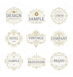 Set of vintage luxury logo templates vector image