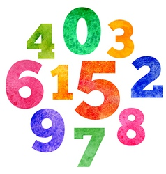 set of watercolor colorful numbers vector image