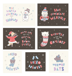 set of winter postcards with quotes and phrases vector image