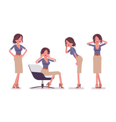 sexy secretary in tempting poses vector image