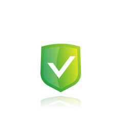 shield with check mark icon green on white vector image