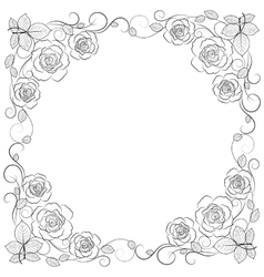 Simple floral frame in black isolated on white vector image