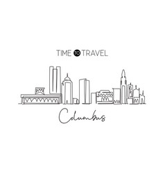 single continuous line drawing columbus city vector image