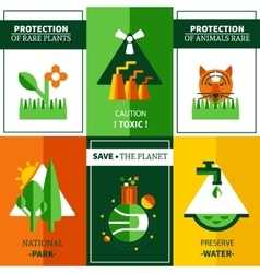 Six Flat Ecology Posters Set vector