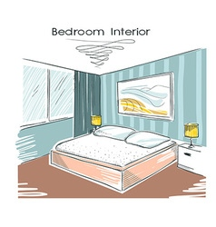 Sketchy color of bedroom interior hand drawi vector image