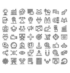 smm icons set outline style vector image