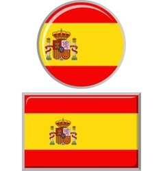 Spanish round and square icon flag vector