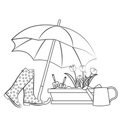 spring flowers under umbrella outline vector image