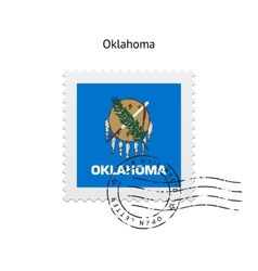 State of Oklahoma flag postage stamp vector