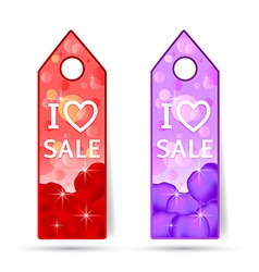 Stickers with i love sale made rosses petals vector